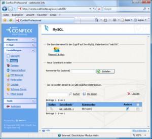 Confixx MySQL Datenbank anlegen