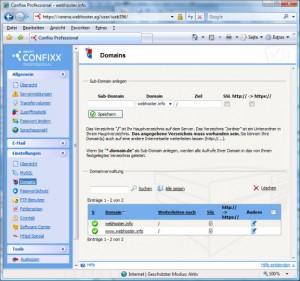 Confixx Domains umleiten