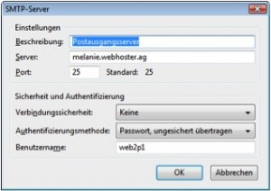 Thunderbird SMTP unverschlüsselt